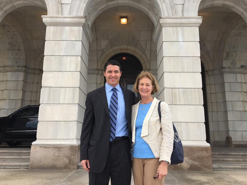 Paul Cavanagh and his mother, Carol, outside the RI Statehouse following an event to mark the start of Mental Health Month