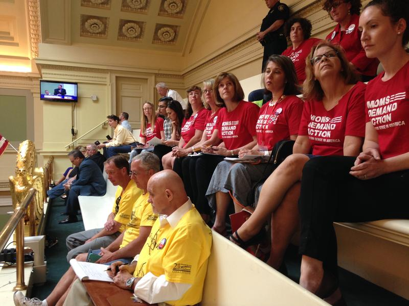 Supporters of gun control sit in red in the Rhode Island Senate gallery, while several people opposed to such measures sit in yellow.