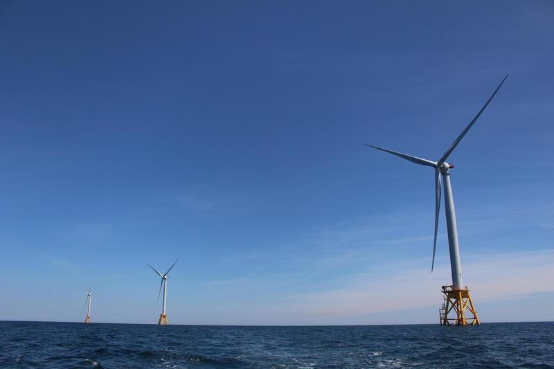 Wind turbines spinning off of Block Island.