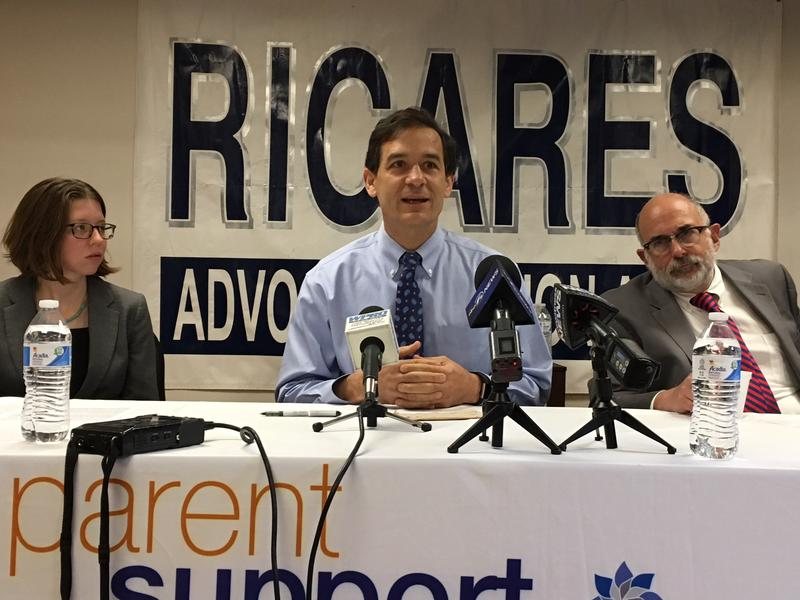 Dr. Jody Rich, with Annajane Yolken (left) and Dr. Michael Fine (right) at news conference voicing opposition to bill known as Kristen's Law.