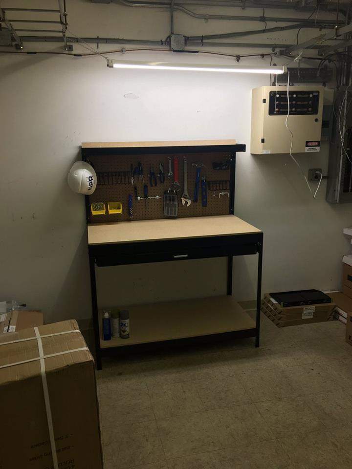 The early stages of our workbench that we've set up in the shared space of the adjacent, main building.