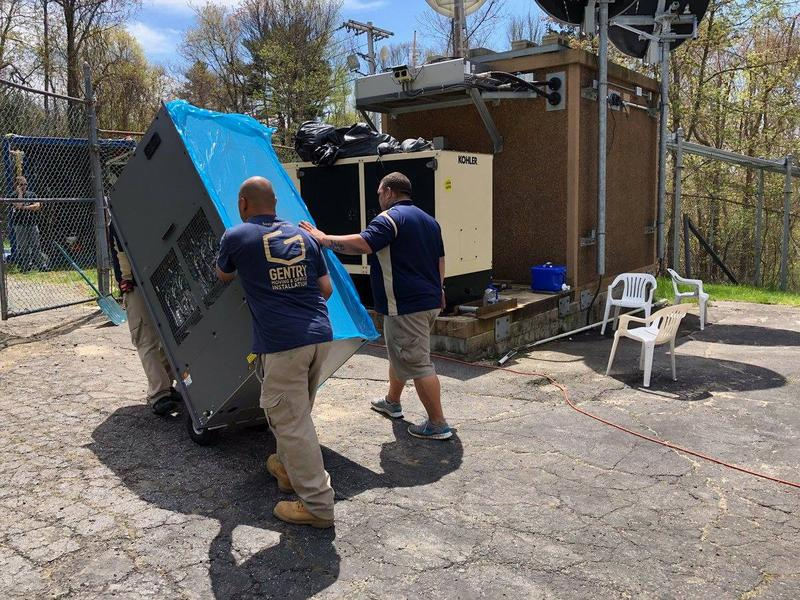Now it's a lot easier to move the transmitter around the site! We hired some moving guys from Gentry to do the honors.