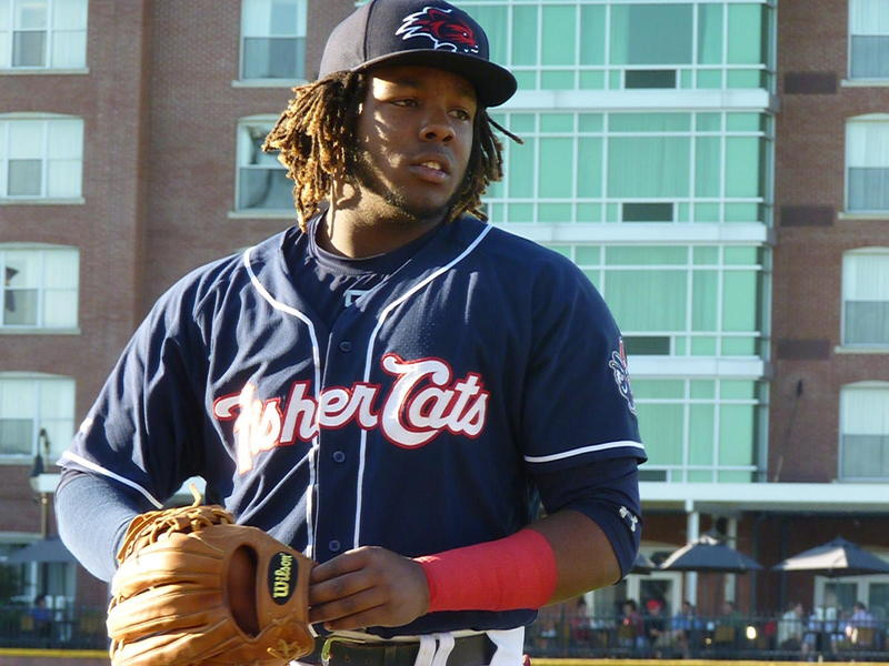 Vladimir Guerrero Jr., who plays for the New Hampshire Fisher Cats, during warm-ups on Tuesday.