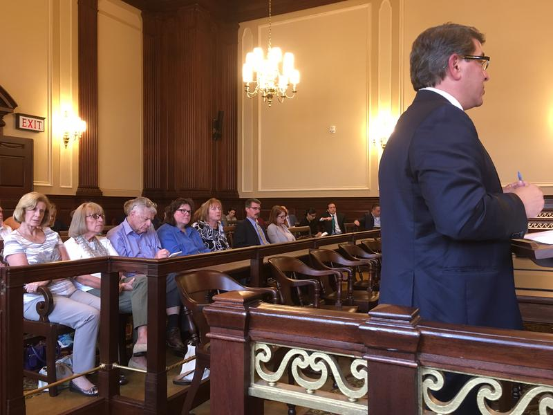 Stephen DelSesto, the court-appointed reciever for St. Joseph Health Service's pension plan, testifies in Superior Court in 2017