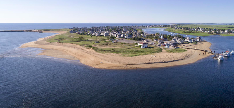 A view of the northern tip of Plum Island, looking south from the Merrimack River