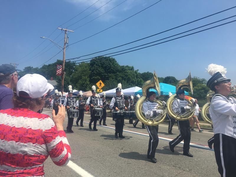 A marching band in the Bristol Fourth of July parade.