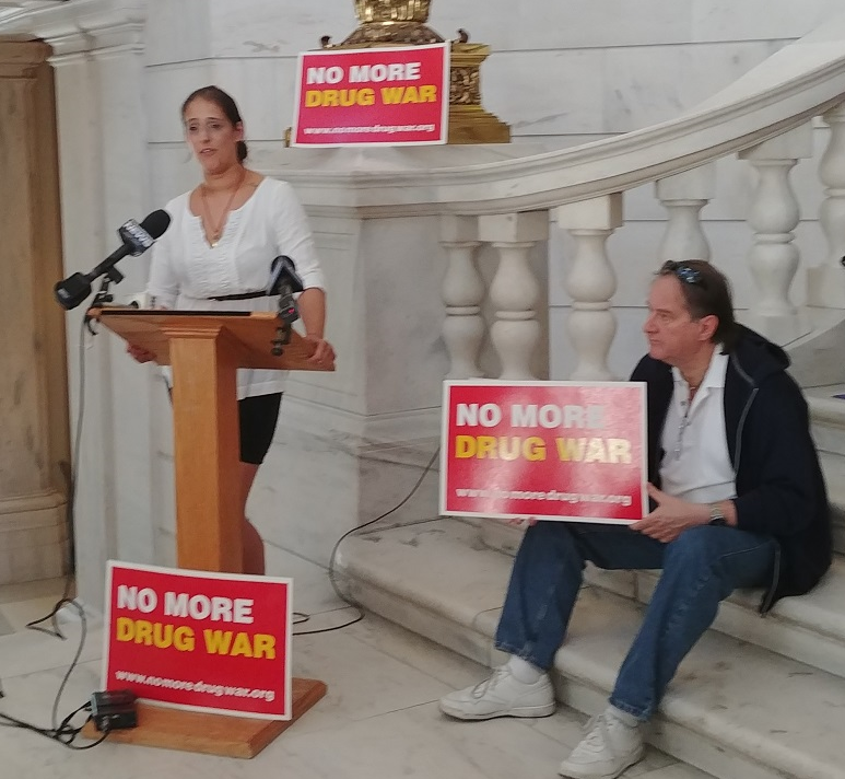 """RI Rep. Moira J. Walsh with opponents of Kristen's Law at an """"anti-bill signing"""" event at the State House in June."""