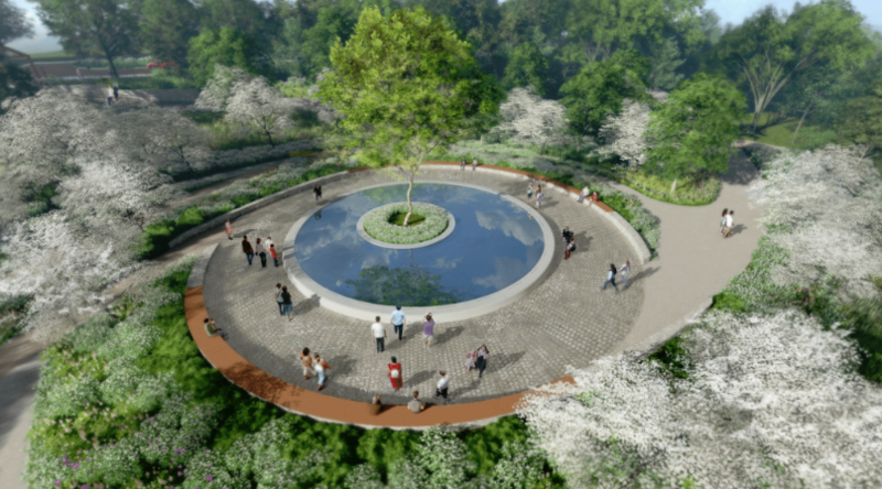 A rendering of a planned memorial to victims of the 2012 Sandy Hook Elementary School mass shooting.