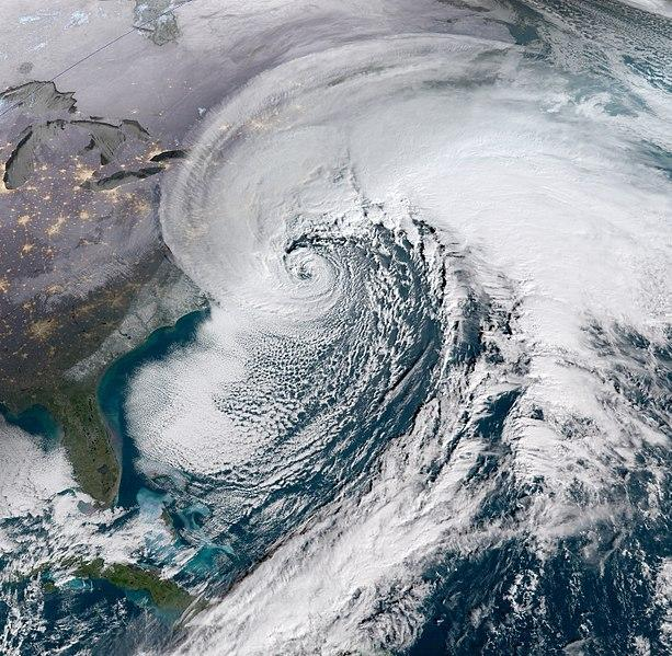 A satellite image shows last week's snowstorm maturing off the East Coast.