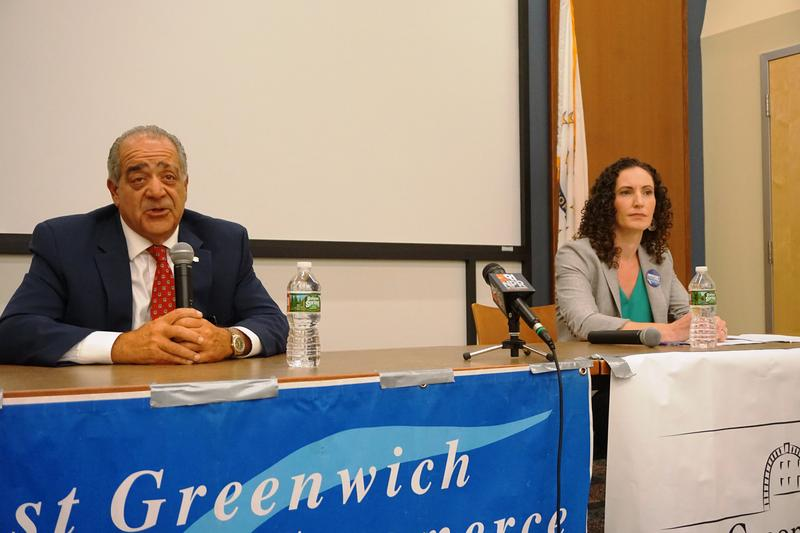 Greg Acciardo and Bridget Valverde at a candidate forum in East Greenwich, where the divide between established Democrats and progressive newcomers is playing out.