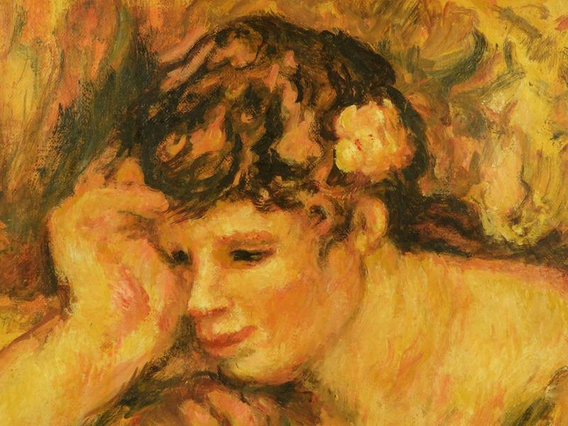 The sitter in the painting was the Renoir's frequent model and relative by marriage, Gabrielle Renaud, whose cousin was married to Renoir. Gabrielle was a nanny for their three children.