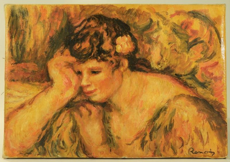 This fresh-to-the-market oil painting by the Pierre Auguste Renoir (Fr., 1841-1919), titled Portrait of Gabrielle leaning on her hand (circa 1918) will be auctioned in fall or winter.