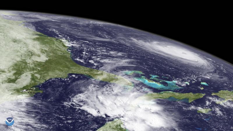 A satellite image of Hurricane Florence churning toward the Carolinas.
