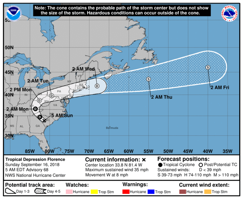 NOAA graphic showing possible path of storm.