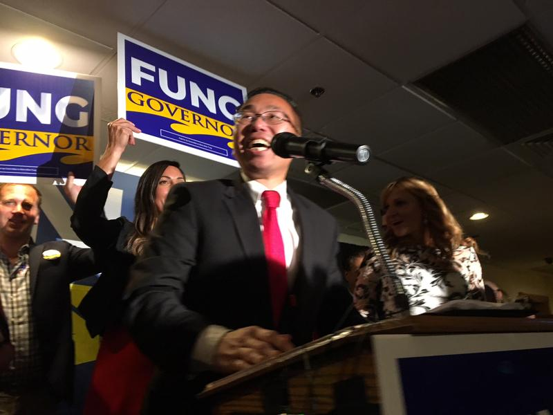 Fung speaking after winning RI's GOP primary for governor.
