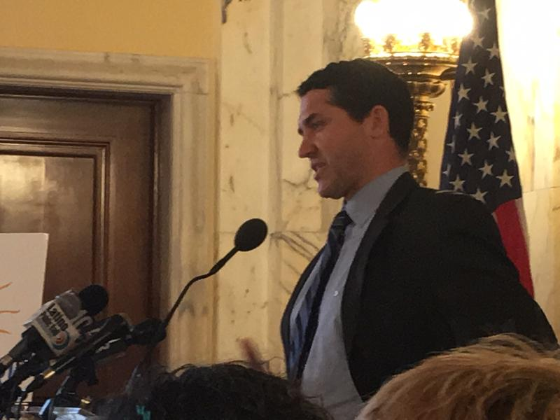 Paul Cavanagh speaks at the RI Statehouse in May 2018 about his brother, Tom's, struggle with mental illness