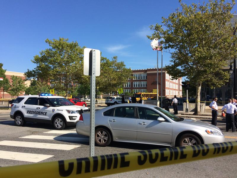 The scene of a deadly shooting outside the Providence Career and Technical Academy and Central High School.