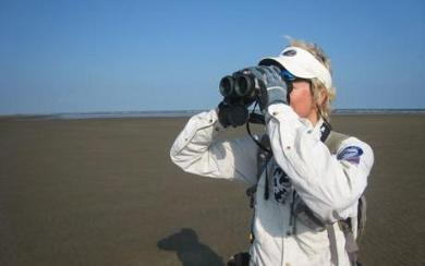 Conservation Biologist Margo Zdravkovic on the Mississippi Delta in Louisiana. Photo By Nancy Cohen.