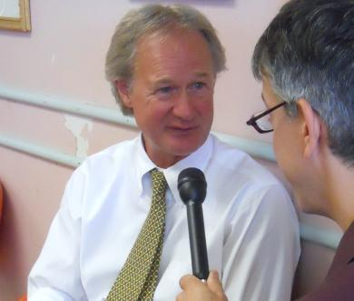 Independent candidate Lincoln Chafee is interviewed by WRNI political reporter Ian Donnis. Courtesy photo.