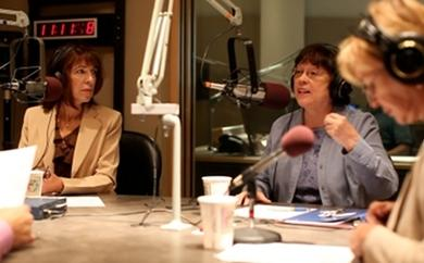 Lisa Pelosi, left, and Arlen Violet, center, are pictured during a taping of Political Roundtable. Photo by Alex Nunes.