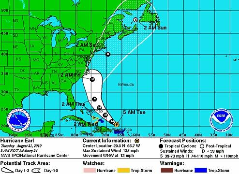 The projected path of Hurricane Earl is pictured in this screen grab from the National Weather Service Web site.