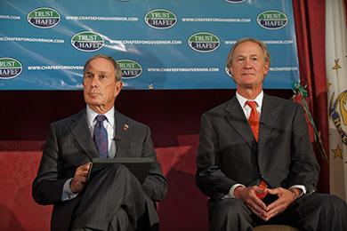 Mayor Michael Bloomberg, of New York, left, is pictured next to gubernatorial candidate Lincoln Chafee. Photo by Louis Oppenheimer.
