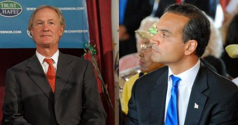 Lincoln Chafee is pictured, left. Photo by Louis Oppenheimer. Frank Caprio is pictured at right. Courtesy photos.