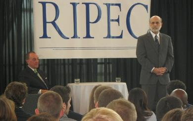 Ben Bernanke is pictured at the Rhode Island Convention Center. Photo by Megan Hall.