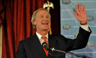 Governor-elect Lincoln Chafee is pictured during a campaign event earlier this year. Photo by Louis Oppenheimer.
