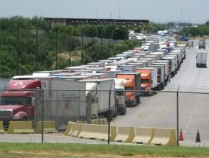 An average of 4,800 trucks a day cross from Mexico to Laredo, Texas, on the World Trade Bridge, the biggest commercial port along Texas' southwest border. Photo by John Burnett/NPR.