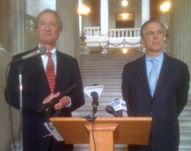 Lincoln Chafee is pictured at left, Richard Licht at right. Photo by Ian Donnis.