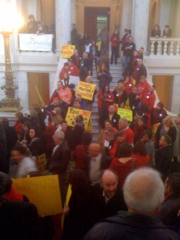 Proponents of same-sex marriage protest at the Statehouse, Feb. 11, 2011. Photo by Ian Donnis.