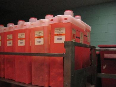 Racks of Stericycle's bio-hazard containers at Rhode Island Hospital