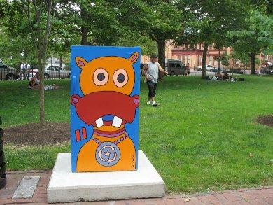To promote its program of recycling old refrigerators, National Grid teamed-up with the Department of Art, Culture and Tourism to place art exhibits of refrigerators across Providence.