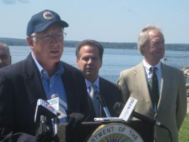 U.S. Interior Secretary Ken Salazar, U.S. Representative David Cicilline and Governor Lincoln Chafee at the announcement.