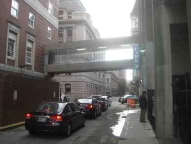 Cars waiting to get into a downtown parking deck.