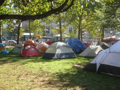 Tents up at Burnside Park in downtown Providence