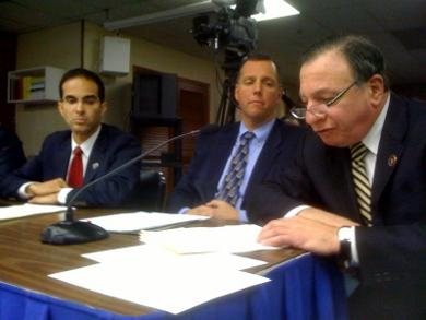 Providence Mayor Angel Taveras, Pawtucket Mayor Don Grebien and Providence City Council chair Mike Solomon testify before lawmakers