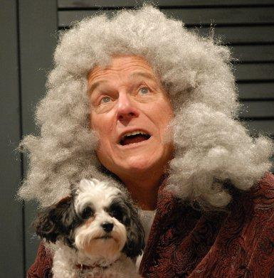 "Tom Roberts as Judge Nigaud with Mr. Cookiemittens as Fido in ""The Suitors.\"""