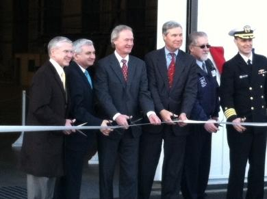 Rhode Island and Electric Boat officials cut the ribbon at the new facility.
