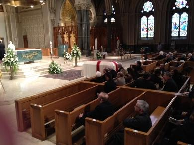 Garrahy's casket at Cathedral of Sts. Peter and Paul