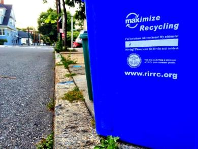 Recycle bin on Providence street