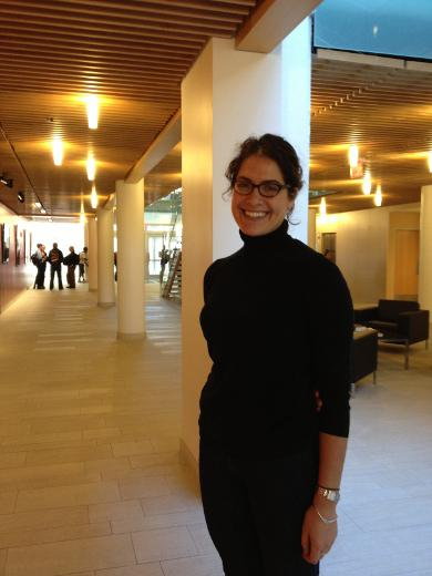 Sarah Rapoport in the Brown University medical education building lobby.