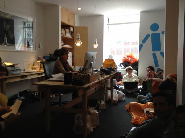 Eleven RISD students occupy President John Maeda's office.