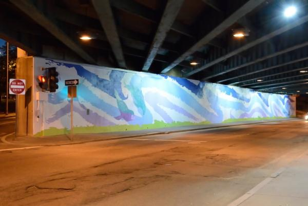 The murals along Eddy Street features whales, dolphins and other sea creatures.