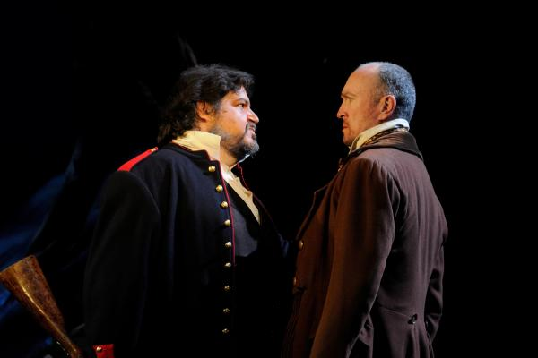 Fredric S. Scheff and Kevin B McGlynn star as Jean Valjean and Javert in Les Misérables being presented at the Ocean State Theatre in Warwick.