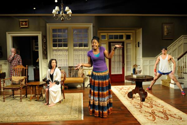 "Vanya (Brian McEleney), Masha (Phyllis Kay), Cassandra (Tangela Large) and Spike (Mark Larson) in ""Vanya and Sonia and Masha and Spike"" by Christopher Durang."