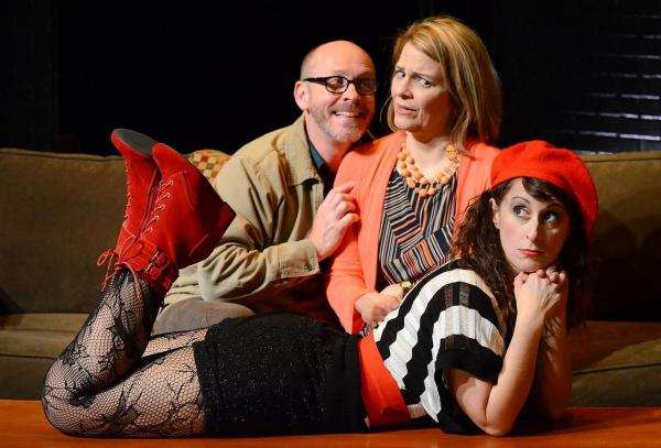 Lara Hakeem (front), Ed Shea is Greg and Sharon Carpentier is his wife Kate in Sylvia at 2nd Story Theatre.
