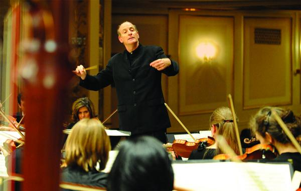 Conductor Larry Racleff working with the Rhode Island Philharmonic.