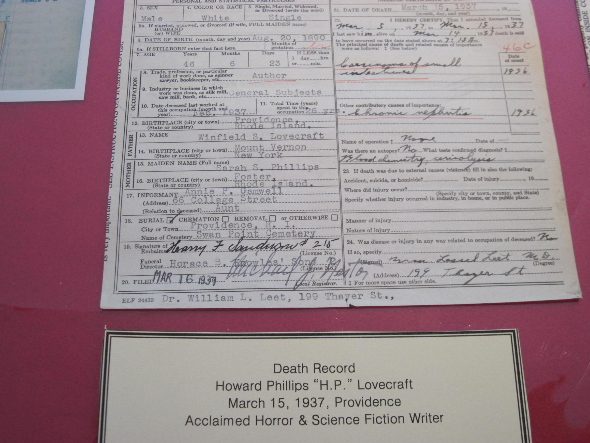 Rhode island artscape oddities of the state archives rhode the death certificate of celebrated horror writer and providence resident hp lovecraft xflitez Gallery